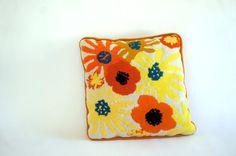 Retro Needlepoint Poppy Throw Pillow // by RankandFileVintage, $30.00