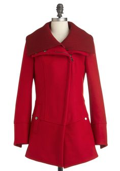 Diagonal Alley Coat in Red by Steve Madden - Red, Solid, Pockets, Long Sleeve, Long, Exclusives