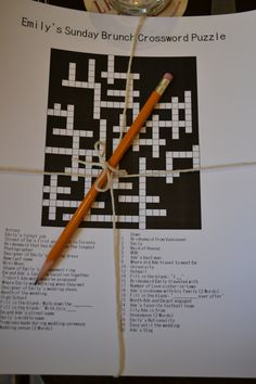 Sunday Morning Brunch Crossword Puzzle for Bridal Brunch