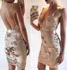 Hot Backless Prom Dress - Sheath V Neck Sleeveless Short with Sequins,Tight dress,Short prom dress