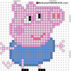 Peppa Pig George Pig hama beads pattern - could be converted to tapestry crochet Más Hama Beads Design, Hama Beads Patterns, Beading Patterns, Peppa Pig, Knitting Charts, Knitting Patterns Free, Pixel Crochet, Pixel Art Templates, Motifs Perler