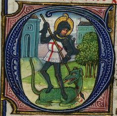 Illuminated Manuscript, Book of Hours, St. George, Walters Manuscript W.168, fol. 217v detail