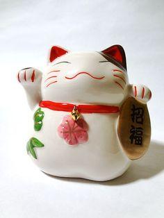 Porcelain Japanese Beckoning Maneki Neko Doll Lucky Cat | eBay
