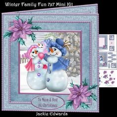 Winter Family Fun 7x7 Mini Kit on Craftsuprint designed by Jackie Edwards - Kit with 7x7 inch card front, decoupage, insert, cut