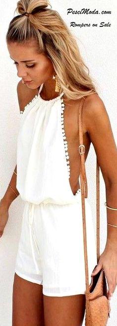 Product Description: Women Sexy Lady Backless Mini Drawstring Jumpsuit Romper…
