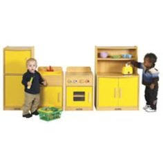 ELR-17504 Colorful Essentials Play Kitchen - 4pc Kitchen Set - Cupboard, Stove, Sink, Refrigerator