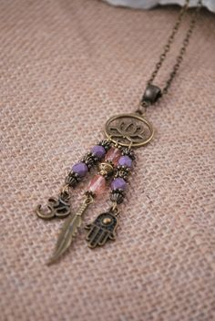 Purple pink necklace Lotus necklace feather ohm by Estibela