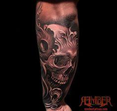 Rember, Dark Age Tattoo Studio - Black and Grey, Realism Skull