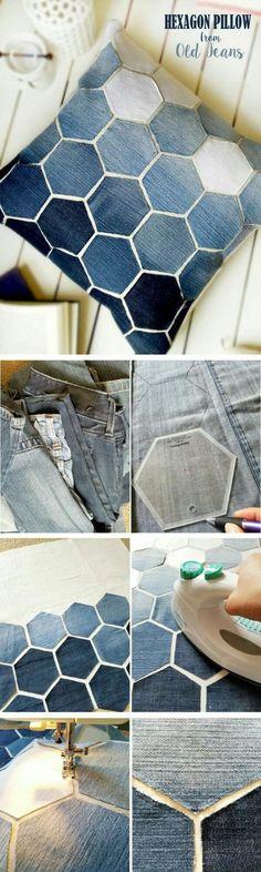 Подушка из джинсов и кожи (diy) / Пэчворк, стёжка и арт-квилт / ВТОРАЯ УЛИЦА