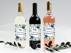 Bridesmaid ask wine bottle label/ will you be my bridesmaid/bridal shower wine/ bridesmaid wine label/custom label/ wedding wine labe by CatePaperCo on Etsy https://www.etsy.com/listing/505999243/bridesmaid-ask-wine-bottle-label-will