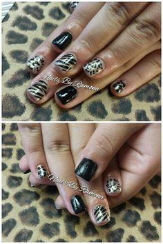 Acrylic nails with nail art. Nails By Ramona.