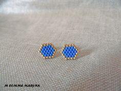 Boucles d'oreilles clous perles Miyuki tissée main Bohochic Bohostyle Bohemian Doré et bleu violet : Boucles d'oreille par m-comme-maryna