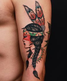 American Indian girl tattoo done by moses d Mezoghlian @thedarlingparlour Sydney