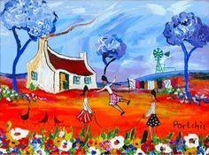 portchie paintings - Google Search African Paintings, Art Painting, Folk Art, Arty, Painting, Oil Painting, Blue Art, Art, Landscape Art