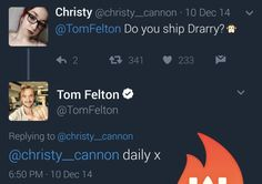 Question: Do you ship Drarry? Answer: Daily x