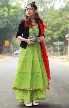 Create the fusion like fashion pro by pairing anarkali suit with jacket. Western Dresses, Indian Dresses, Indian Outfits, Ethnic Fashion, Boho Fashion, Fashion Dresses, Trendy Fashion, Indian Attire, Indian Wear