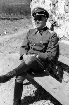 Josef Dietrich, the commander of the Leibstandarte Division, photographed in Eastern Ukraine in the spring of 1942.