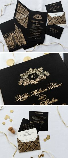 Wedding invitation in royal blue thebridedept the black and gold wedding invitation with a top v flap envelope bold glamorous and stopboris Gallery