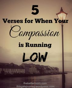 Is your patience with your children running low? Don't let your poor attitude set the tone for your home! Here are 5 verses that you can read and pray today when your compassion is running low.