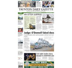 The front page of the Taunton Daily Gazette for Friday, Dec. 5, 2014.