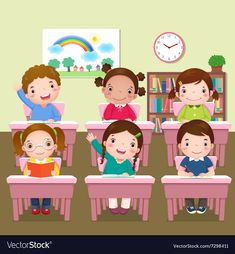 School kids studying in classroom. Illustration of school kids studying in class , Classroom Board, Classroom Rules, School Classroom, School Frame, I School, Little Girl Crafts, Kids Study, Illustrations, Illustration Kids