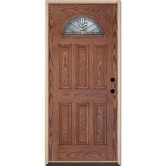 Feather River Doors Phoenix Patina Fan Lite Medium Oak Fiberglass Entry  Door 463492