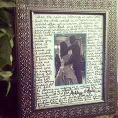 Bridal Shower gift. Wedding Song lyrics. DIY. Garth Brooks song.
