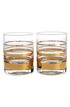 Gold Stripe Double Old-Fashioned Glasses