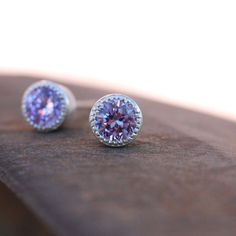 Radiant Orchid Bridal Stud Earrings Silver Color