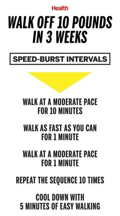Walk off 10 pounds in 3 weeks with this speed-burst interval walking workout you can do anywhere. | Health.com