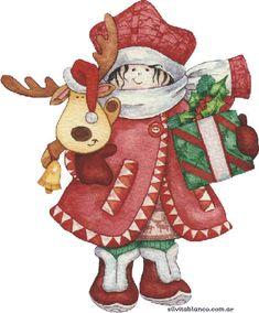 CHRISTMAS LITTLE GIRL AND REINDEER CLIP ART