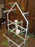 Awesome PVC play stand with dimensions and everything! Thanks Einstien!!! (Fun you tube video's!)