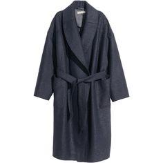 H&M Bouclé coat in wool (£80) ❤ liked on Polyvore featuring outerwear, coats, h&m, jackets, dark blue, blue coat, tie belt, h&m coats, woolen coat and blue wool coat