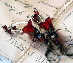 Lucite Earrings, Bell Flower Earrings 'Copper Cranberry', Victorian Earrings, Boho Earrings, Drop Earrings, Red Earrings, Mother's Day Gift