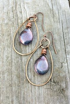 Blue Purple Iridescent Glass Teardrops with Hammered Copper Hoop