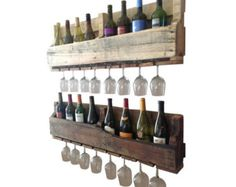 ALL INFO ABOUT THE PRODUCT AND SHIPPING TIME FRAME IS BELOW. Pic 1 is natural, pic 2 is dark walnut , Pic 3 is ebony Made out of 100% reclaimed wood, this piece is sure to catch attention in your house for its unique and one of a kind style.  Style meets full functionality with this wine rack holding 8 wine bottles and up to 8 long stem wine glasses. This will vary depending on the style of glass you wish to display. Because it is made of reclaimed pallet wood, not every board will be cut to…