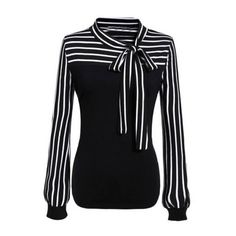SheIn(sheinside) Black White Tie-neck Striped Blouse (€14) ❤ liked on Polyvore featuring tops, blouses, shirts, long sleeves, black, neck-tie, black and white long sleeve shirt, black and white shirt, long sleeve shirts and slim fit shirts