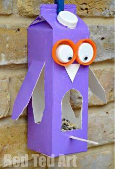 Create bird feeders for the courtyard. Easy Owl Bird Feeder made from a Milk Carton or Juice Carton. A great bird feeder craft for kids. Crafting with Milk Carton Ideas kids.