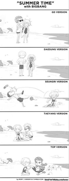 Fun times at the beach with big bang | allkpop Meme Center