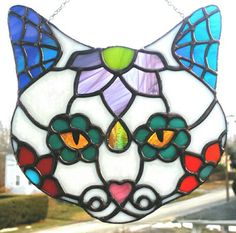Kitty Sugar Skull Stained Glass Day of the Dead Sugar by segovia