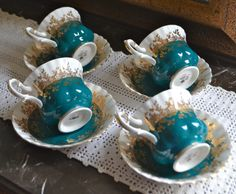#RoyalAlbertTeacup Royal Albert SET OF FOUR Teal White and Gold by TheSmashingTeacup