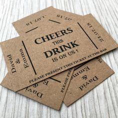 Wedding Party Songs, Wedding Cards, Wedding Ideas, Wedding Decor, Wedding Favour Drinks, Diy Name Cards, Drink Ticket, Food Truck Wedding, Brewery Wedding