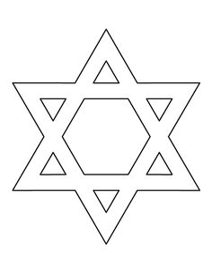 Star of David pattern. Use the printable outline for crafts, creating stencils, scrapbooking, and more. Free PDF template to download and print at http://patternuniverse.com/download/star-of-david-pattern/