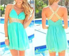 Trendy 2014 Turquoise A-line Straps Mini Homecoming Dress with Sequins