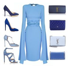 """Blue accessories "" by ellenfischerbeauty ❤ liked on Polyvore featuring Alex Perry, Charlotte Olympia, Gianvito Rossi, Gucci, Chloe Gosselin, Yves Saint Laurent, Valentino and Chanel"