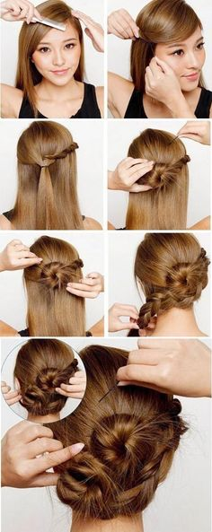 Cute look, angled bangs pinned to the side and braided. Section of hair taken and twisted in a messy bun in the back of her head.