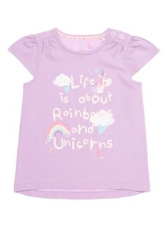 Baby Girls Purple Slogan Print T-Shirt (0-24 months) | Tu clothing