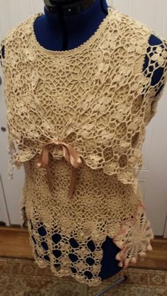 Tea Stained Crocheted Upcycled Top