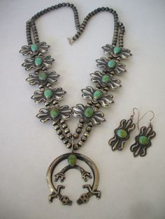Navajo BENJAMIN JAMES Revival Style Squash Blossom Necklace & Earrings SET, Green Turquoise, Repousse Blossoms.  TurquoiseKachina, $773.10