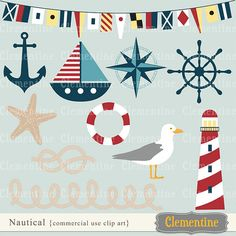 Nautical clip art images, nautical clipart, nautical vector, royalty free clip art- BUY 2 GET 1 FREE. $5.00, via Etsy.